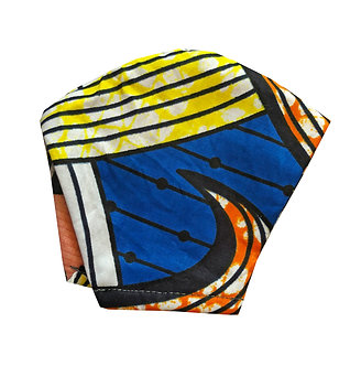 Blue, orange, yellow, black and white 100% cotton African wax print face mask with retro pattern