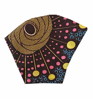 Multicolored 100% cotton African wax print face mask with cosmic pattern