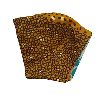 Light yellow-brown and maroon 100% cotton African wax print face mask with fine pattern