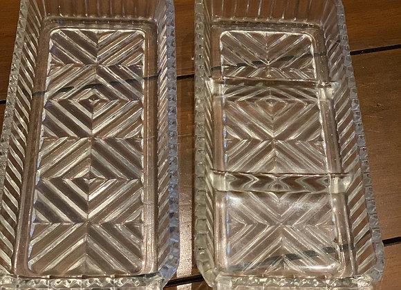 Vintage Cut Glass Herringbone Relish Trays