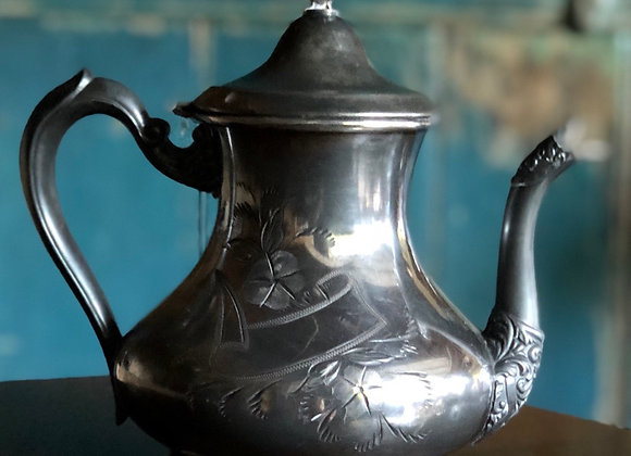 Etched Silver Teapot