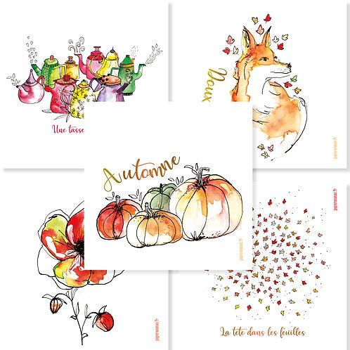 Collection complète des cartes d'automne