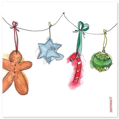 "Carte postale collection de Noël ""guirlande"""