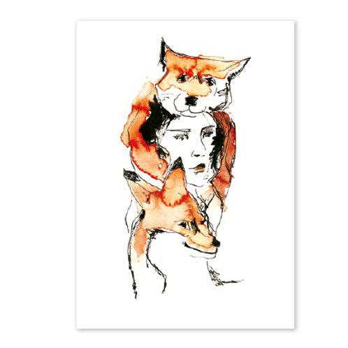 Carte postale Femme renard