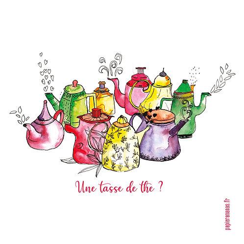 """Carte postale collection d'automne """"Une tasse de thé ?"""""""