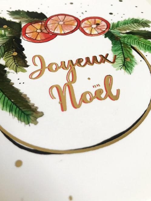 """Carte postale collection de Noël """"couronne d'Or"""""""