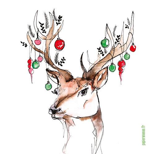 "Carte postale collection de Noël ""cerf de Noël"""