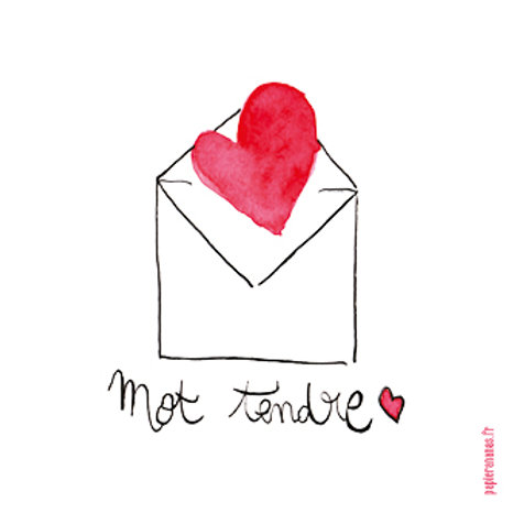 "Carte postale collection Mots d'amour ""Mot tendre"""