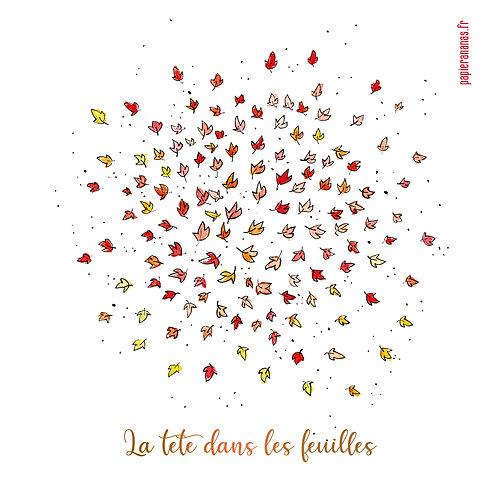 """Carte postale collection d'automne """"La tête dans les feuilles"""""""