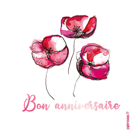 "Carte postale collection Anniversaire ""Coquelicot"""