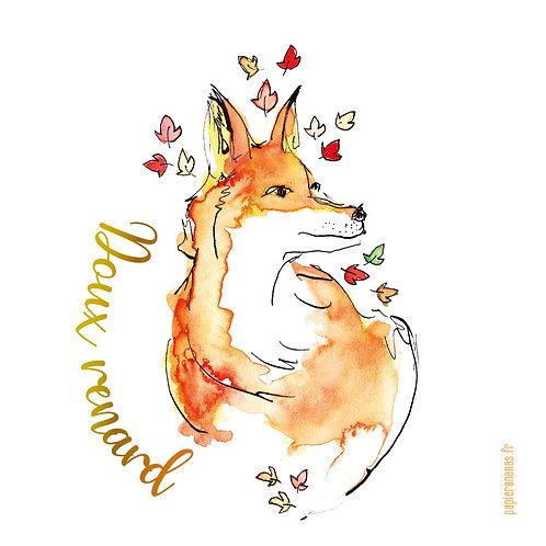 """Carte postale collection d'automne """"Doux renard"""""""