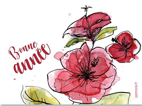 Carte postale Bonne année fleurie