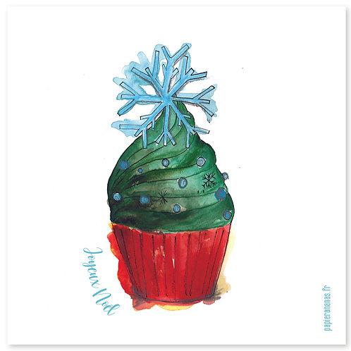 """Carte postale collection de Noël """"cupcake de Noël"""""""