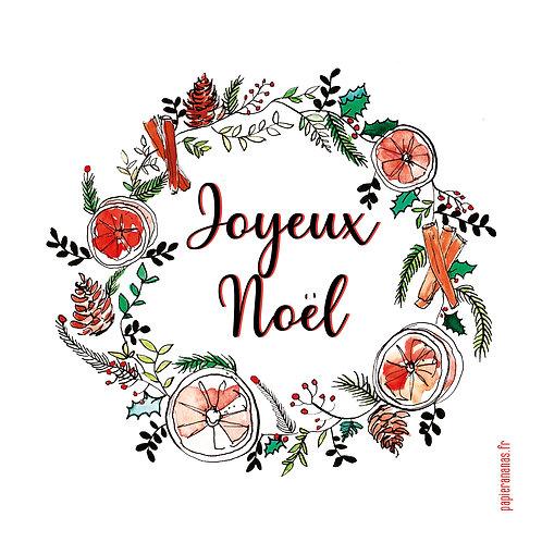 """Carte postale collection de Noël """"couronne de Noël"""""""