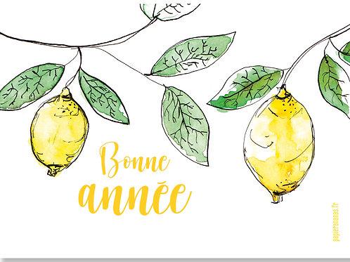 Carte postale Bonne année citronnée