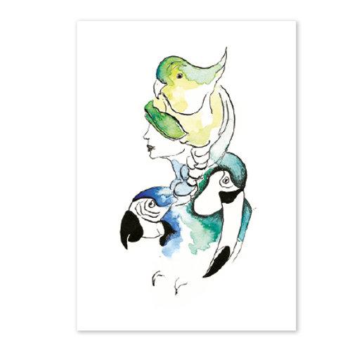 Carte postale Femme oiseaux