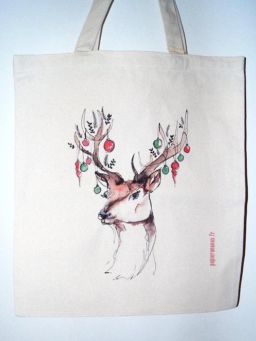 Tote bag cerf de Noël