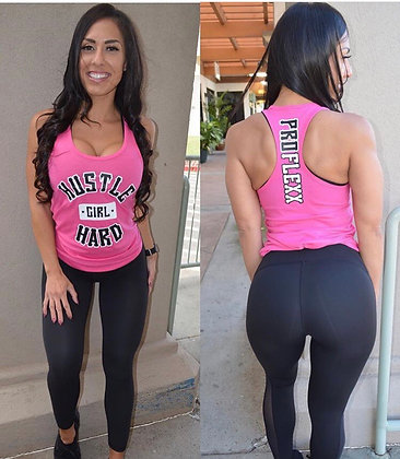 HUSTLE HARD GIRL PINK TANK