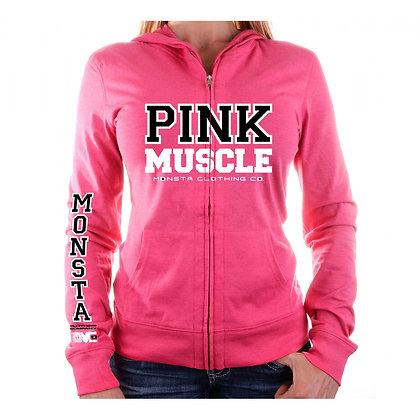 Pink Muscle Zipper Hoodie