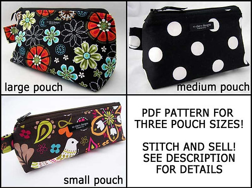 3 Sizes Pouch Pattern - paper format