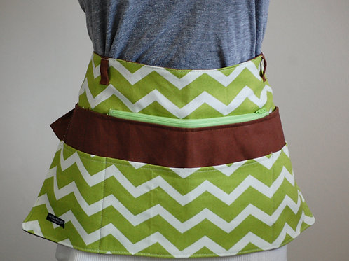 Green Chevron with Brown Canvas Apron