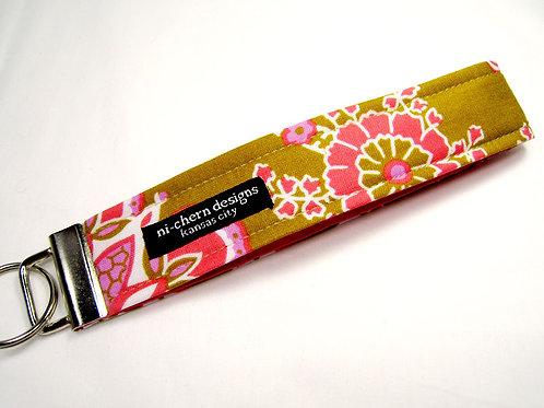 Pink Scrolls on Mustard - Regular