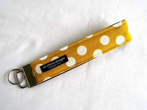 White Polka Dots on Mustard Yellow - Regular