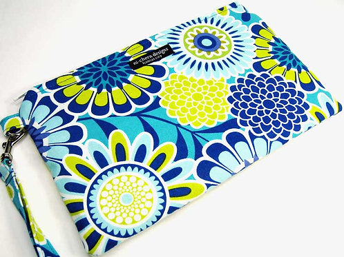 Blue Teal Floral - wristlet