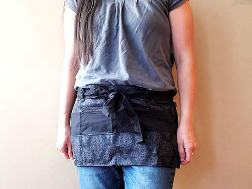 Black Gray Damask - Craft Apron