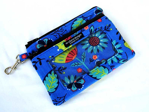 Blue Green Floral - Sm Phone Pouch