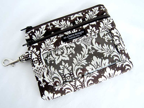 Brown Damask - Sm Phone Pouch