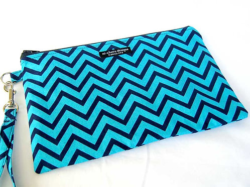 Navy Teal Chevron - wristlet