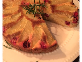 Just in time for your holiday table!  Paleo Apple Cranberry Upside Down Cake