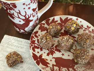 Holiday Spice Bulletproof Coffee and Coconut Snowballs. A snack Santa would enjoy.