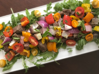 """Deconstructed Sauteed Lamb """"Kabobs"""" with Salad or Spiralized Squash """"Pasta"""""""