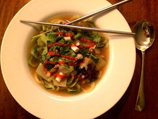 Asian Spiced Chicken Zoodle Soup (Faux Pho)