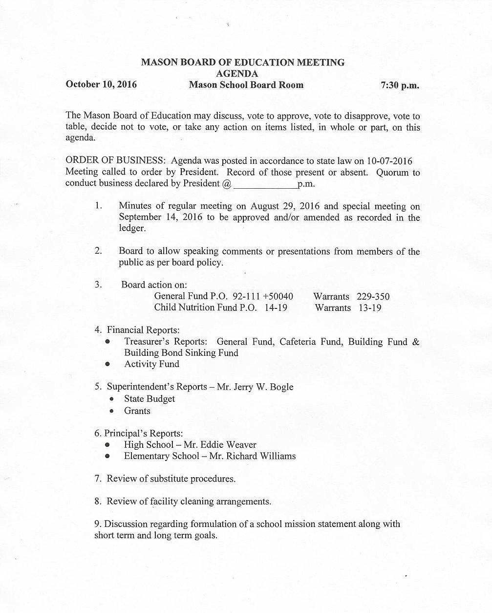 mason website 2 board of education board agenda 10 pg 1
