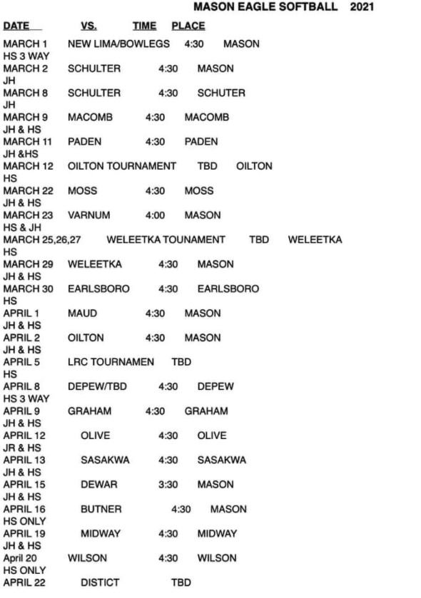 Softball Schedule Spring.JPG