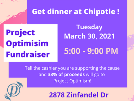 Chipotle Fundraiser (March 30th) from 5 pm - 9 pm!