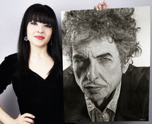 with my pencil drawing of Bob Dylan