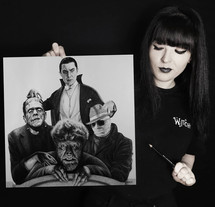 with my drawing of the Universal Monsters.