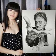 with my pencil drawing of Paul Smith