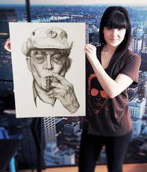 with my portrait of Hunter S. Thompson