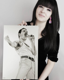 with my pencil drawing of Freddie Mercury