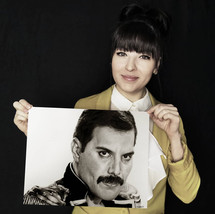 with my drawing of Freddie Mercury