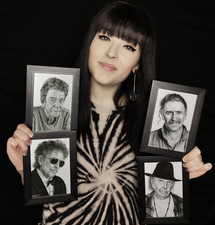 with my mini portraits of Lou Reed Bob Dylan Frank Zappa and Neil Young.