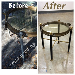 #porthole before & after fabricating the legs