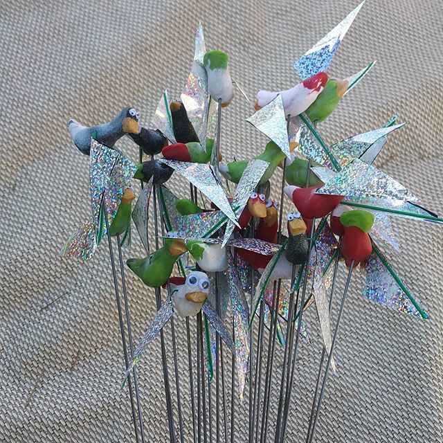 little birdies ready to fly #sculpey _#dirtybirdcampout _dirtybirdrecords _#housemusic #festy #festy