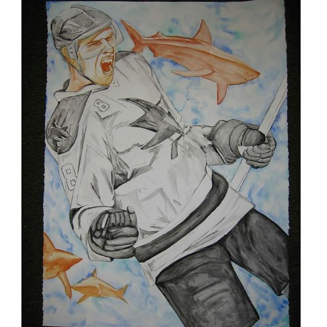 dug up some more old #watercolor #sjsharks #joepavelski #hockeylove_#auxsmade