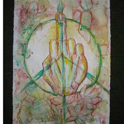dug up some more old #watercolor #middlefinger #peace #whatsthatleaf ☮✌_#auxsmade